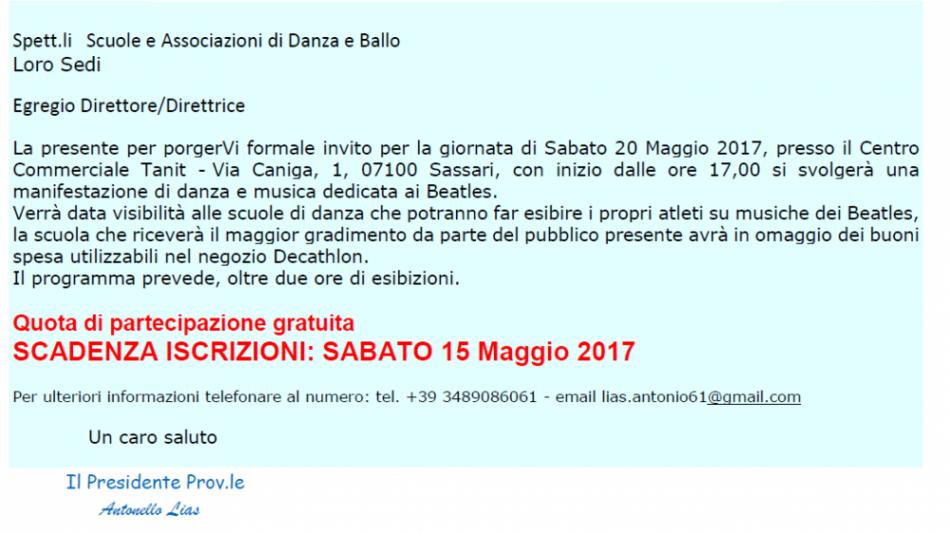 invito Tanit Sassari