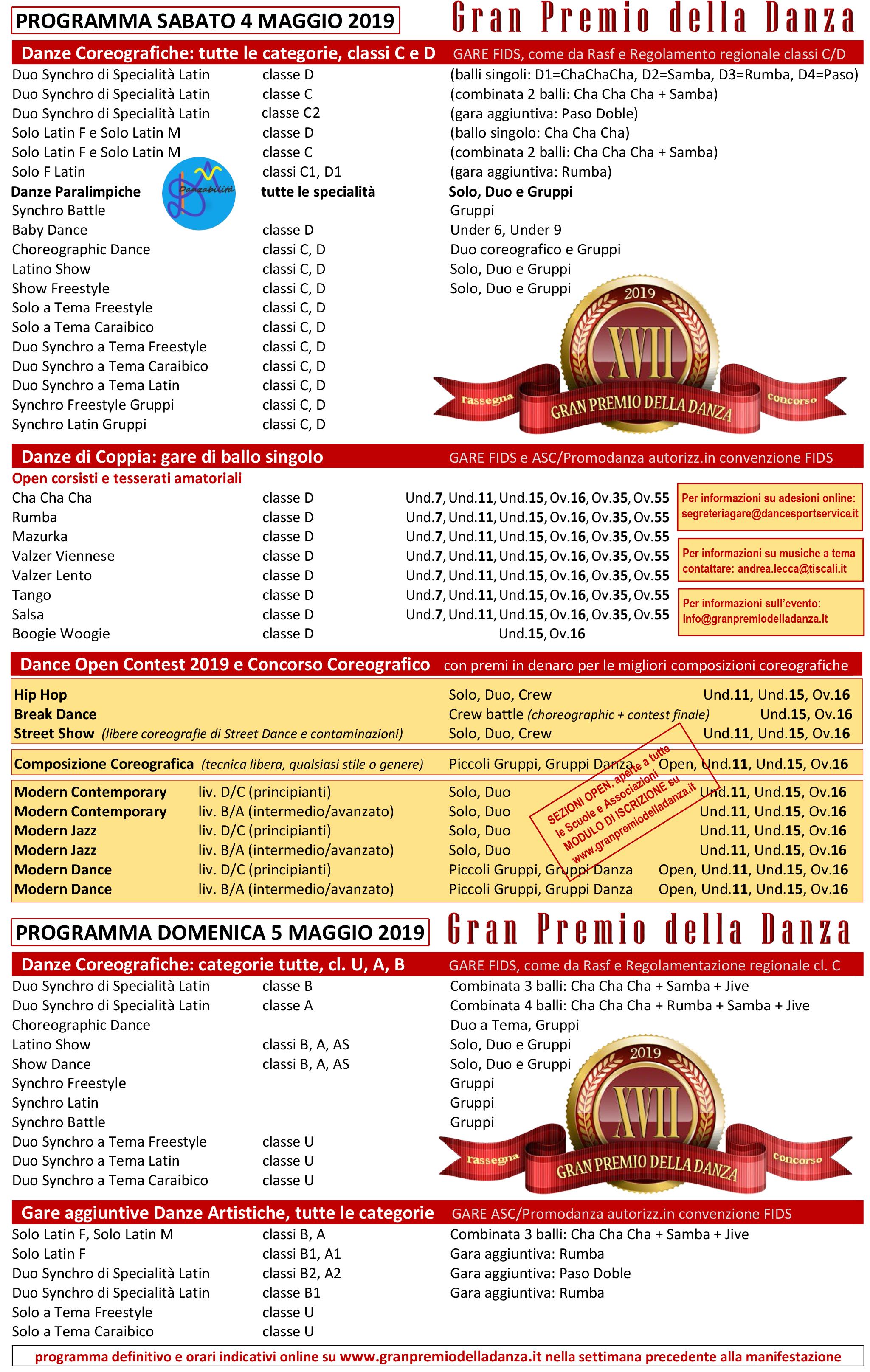 programma GRAN PREMIO 2019 g